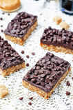 Raw vegan dates oats peanut butter bars with chocolate frosting Stock Images