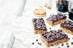Raw vegan dates oats peanut butter bars with chocolate frosting Royalty Free Stock Photography