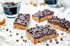 Raw vegan dates oats peanut butter bars with chocolate frosting Royalty Free Stock Images