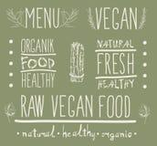 Raw vegan food. calligraphy Stock Photos