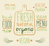 Raw vegan food. calligraphy Royalty Free Stock Images