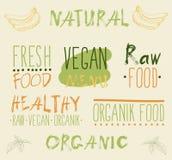 Raw vegan food. calligraphy Royalty Free Stock Image
