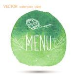Raw vegan food. calligraphy watercolor Royalty Free Stock Images