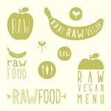 Raw vegan labels. Vector EPS 10 hand drawn signs Stock Image
