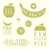 Raw vegan labels. Vector EPS 10 hand drawn signs stock illustration