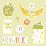Raw vegan labels. Vector EPS 10 hand drawn signs Royalty Free Stock Photos
