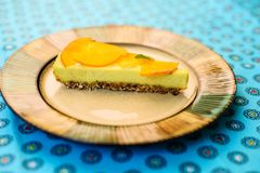 Raw vegan lemon tart royalty free stock photo