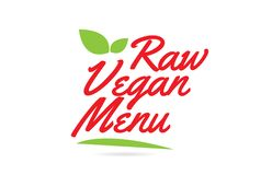 Raw Vegan Menu hand written word text for typography design in red. Color with leaf Can be used for a logo or icon vector illustration