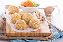 Raw vegan oat apricot banana balls Royalty Free Stock Photography