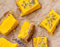 Raw vegan pumpkin cheesecake Stock Photo
