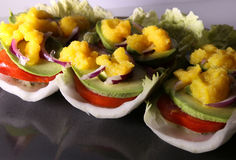 Raw vegan sandwiches. On a cabbage leaf with avocado, tomato and sweet mango sauce Stock Images