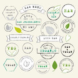 Raw and Vegan stamps set Royalty Free Stock Photography