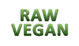 Raw vegan. Words written with green grass isolated on white royalty free illustration