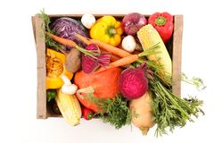 Raw vegetable on box. On white Stock Images