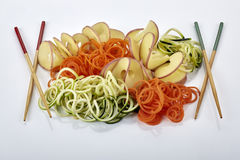 Raw Vegetable noodles with chopsticks Stock Image