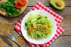 Healthy cabbage avocado salad. Easy fresh cabbage salad with avocado, dried apricots, ruccola and sesame on a plate Royalty Free Stock Images