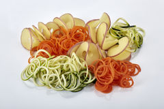 Raw Vegetable spiral noodles Royalty Free Stock Photos