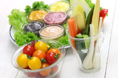 Raw vegetables with assorted mayonnaise sauce Royalty Free Stock Photography