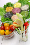Raw vegetables with assorted mayonnaise sauce Stock Images