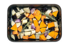 Raw Vegetables in Baking Pan Top View Isolated Stock Photos
