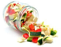 Raw vegetables cut Stock Photos