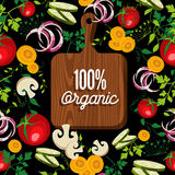 Raw vegetables food with 100% organic wood board. Raw vegetables spread around cutting board with 100% organic text quote, concept illustration. EPS10 vector Stock Photography