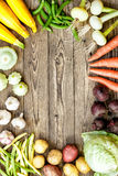 Raw vegetables. Fresh raw vegetables on rustic wooden background Royalty Free Stock Photo