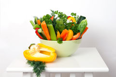 The raw vegetables in green bowl Royalty Free Stock Photos