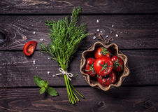Raw vegetables and herbs Royalty Free Stock Photos