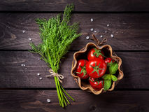 Raw vegetables and herbs Stock Images