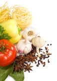 Raw vegetables and pasta Royalty Free Stock Images