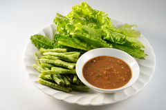 Raw vegetables with sambal Royalty Free Stock Images