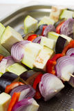 Raw vegetables skewer Royalty Free Stock Images
