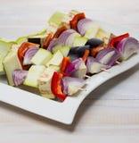 Raw vegetables skewer Stock Image