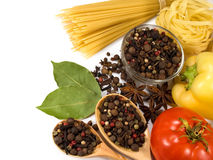 Raw vegetables , spices and pasta Royalty Free Stock Photography