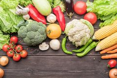Raw vegetables and spices on top for background stock photo