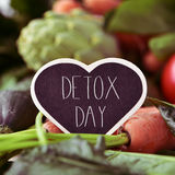 Raw vegetables and text detox day Royalty Free Stock Image