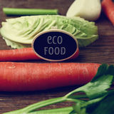 Raw vegetables and text eco food Stock Photography