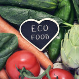 Raw vegetables and text eco food Stock Image