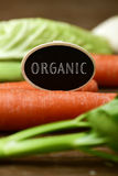 Raw vegetables and text organic. Closeup of a black signboard with the text organic placed on a pile of some different raw vegetables, such as carrots, parsnips royalty free stock images
