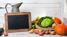Raw vegetables to cooking pot-au-feu with chalkboard Stock Image