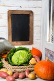 Raw vegetables to cooking pot-au-feu with chalkboard Royalty Free Stock Photos