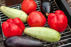 Raw vegetables tomato, zucchini and eggplant. Are on the grill Stock Photography