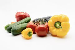 Paprika cucumber tomatoes eggplant royalty free stock images