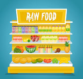 Raw Vegetarian Food Vector Concept in Flat Design Stock Photography