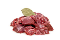 Raw venison from deer as goulash. With bay leaf Royalty Free Stock Images
