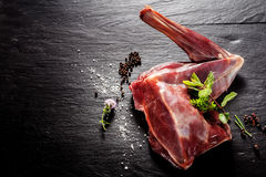 Raw Venison Haunch Seasoned with Herbs and Spices Stock Image