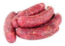 Raw Venison Meat Sausages. Group of fresh raw venison meat sausages isolated on a white background Royalty Free Stock Photography