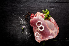 Raw Venison Roast Seasoned with Herbs and Spices Stock Images