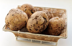 Raw washed potatoes in a wicker basket Royalty Free Stock Images